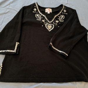 Embellished tunic blouse